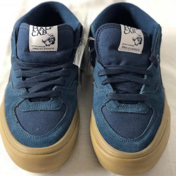 d6ecc76beb Vans Half Cab Pro Navy Gum Suede Canvas Sneakers